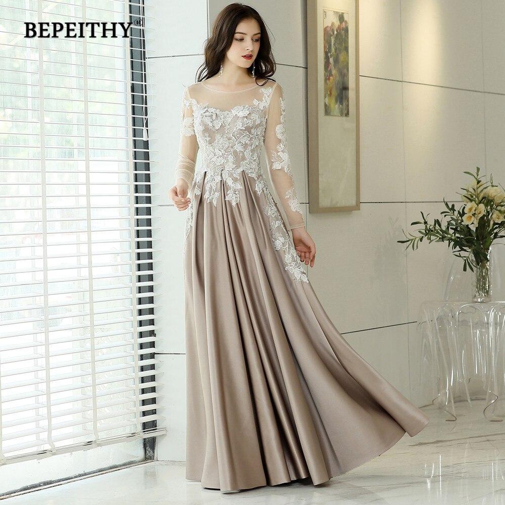 Vestido De Festa Longo Full Sleeves Vintage Long Evening Dresses 2020 New Arrival Lace Fashion Prom Gown Formal Abendkleider