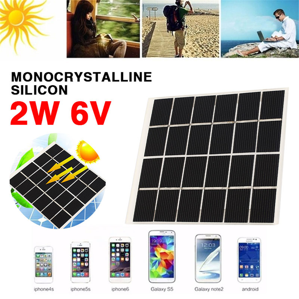 Amzdeal 2W 6V Solar Panel Reusable Solar Cells Monocrystalline etfe Silicon Module Battery Charge 120mm*110mm image