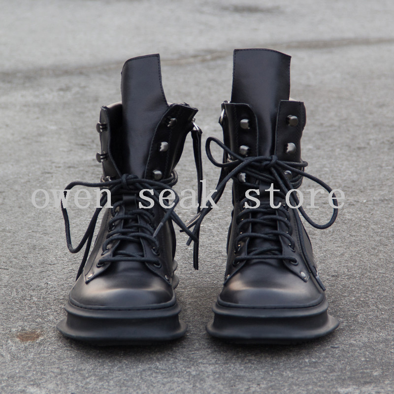Owen Luxe Véritable Up Lace Haute Marque Seak Zip Casual Chaussures Formateurs Cuir D'équitation Noir De Neige En D'hiver Bottes Appartements Cheville Hommes c4j5ARLq3
