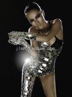 Зеркальный костюм женское платье для выступлений ночного клуба серебряный боди сексуальные тонкие сценические комбинезоны костюмы шоу ве