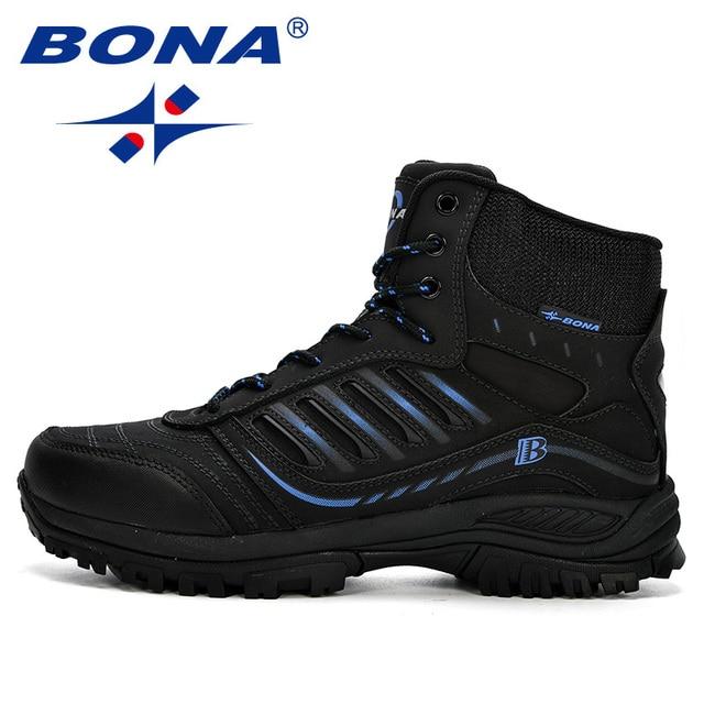 BONA Men Hiking Shoes Mid-Top Split Leather Outdoor Sneaker Men Comfy Trekking Boots Men Trail Camping Climbing Hunting Sneakers 5