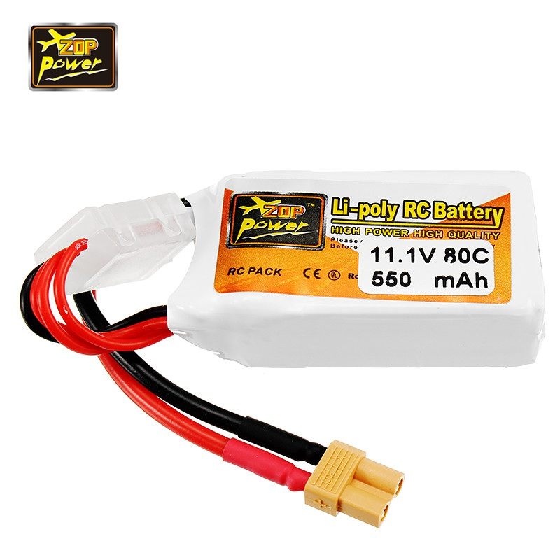 ZOP Power 11 1V 550mAh 80C 3S Lipo Battery Rechargeable XT30 Plug Connector For RC font