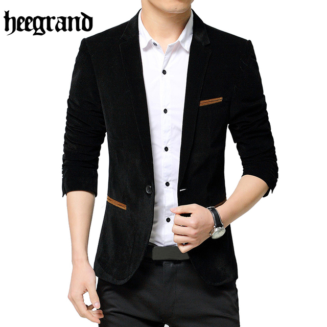 Hee grand 2017 chaqueta delgada de negocios hombre de manga larga sólido más el tamaño para hombre traje chaqueta masculina suite mwx409