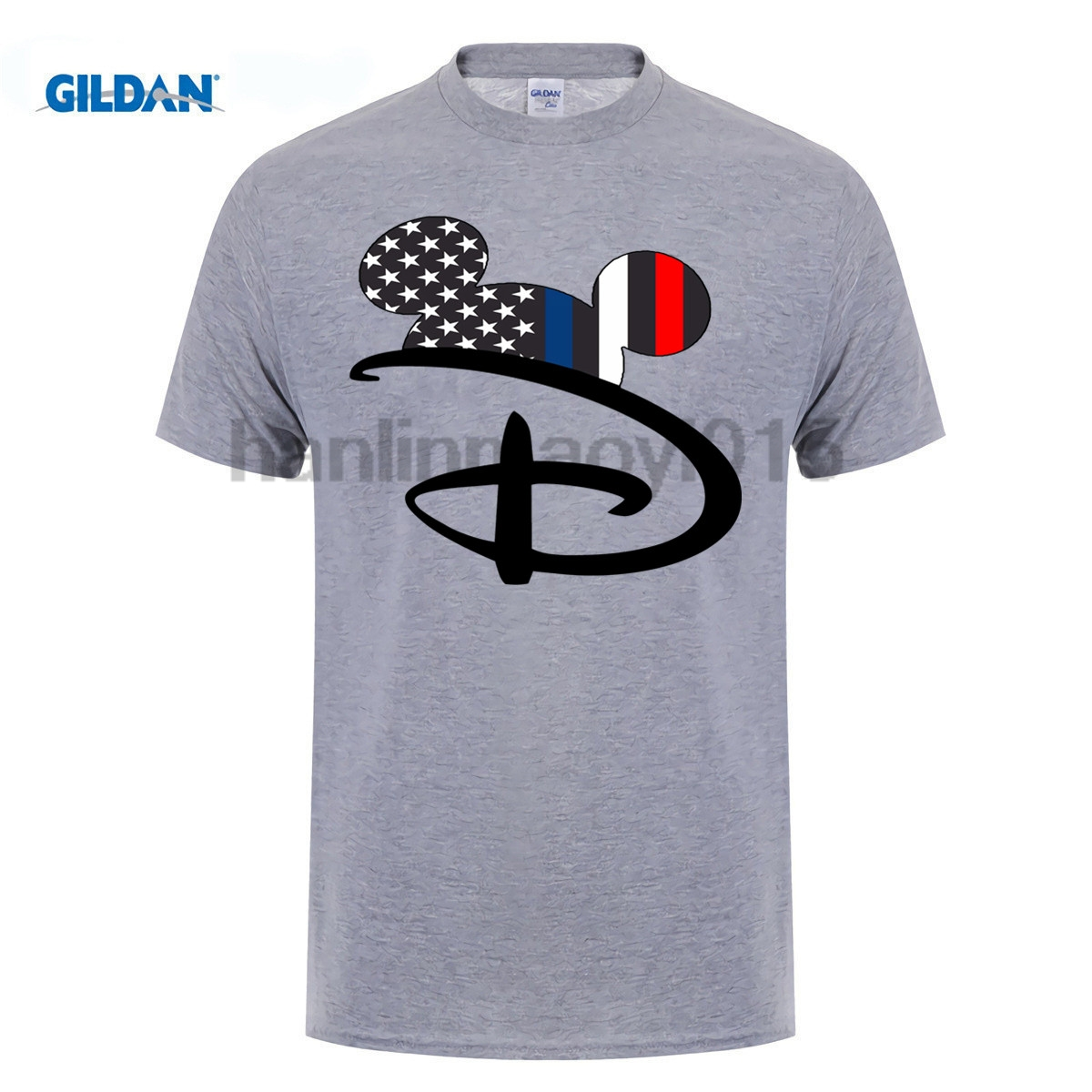 GILDAN 100% Cotton O-neck printed T-shirt Mickey Ears Support Law Enforcement T-Shirt ...