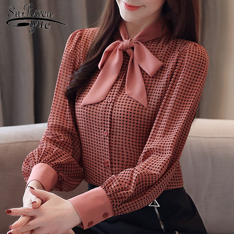 Womens Tops And Blouses Long Sleeve Women Shirts Fashion Bow Collor Office Blouse Women Plaid Chiffon Shirt Female Top 2413 50
