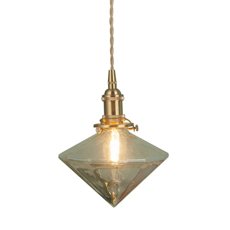 American Pure Copper Glass Droplight Loft Style Vintage LED Pendant Light Fixtures Retro Single Hanging Lamp Indoor Lighting vintage pendant lamp american country style retro bird cage droplight black white rust suspension hanging lighting fixtures