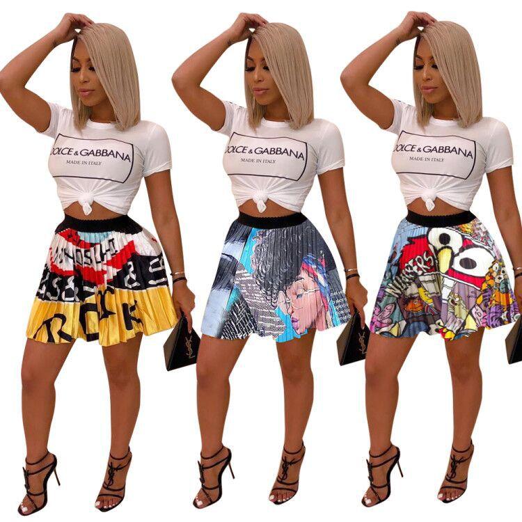 2019 African Women Clothing Dashiki  New Summer Vintage Cartoon Letter Print High Waist Above Knee African  Mini Pleated Skirts