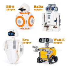 1074Pcs 03073 Ideas Wall-E Eva BB-8 R2D2 4 Robots In 1 Set Model Building Blocks Toys Kids Fit Legoness Star Plan Movies Gifts