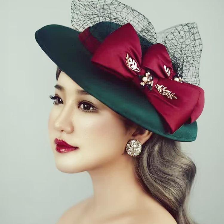 2016 Design Wedding Bride Veil Hat European Green Silk Felt Red Bow Top Hat Fascinator Hair Jewelry Party Church Hair Ornaments