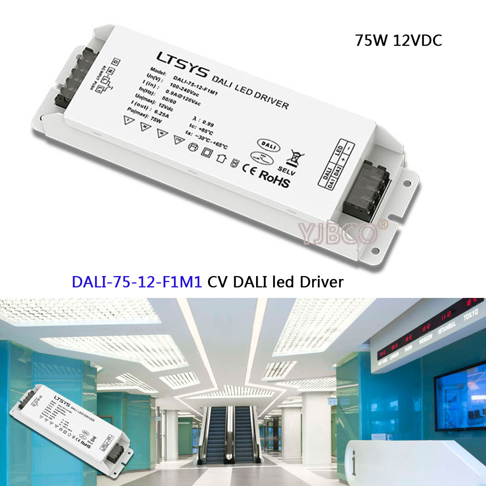 CV DALI Dimming Driver DALI-75-12-F1M1;AC100-240V input;12V/6.2A/72W output DALI/PUSH DIM led power ltech dali 75 12 f1m1 dali led dimming driver ac100 240v input dc 12v 6 25a 75w output dali push button dimmer