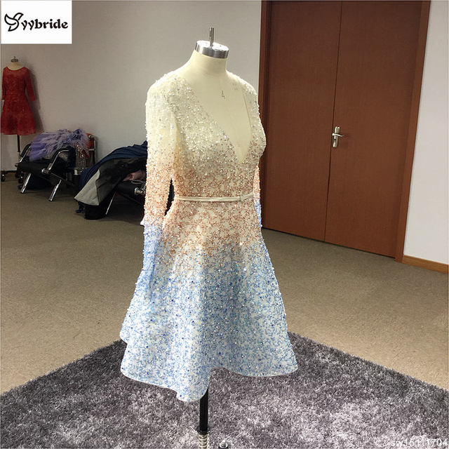 Surmount New Arrival Formal Dresses  A Line Mini Sexy Beaded Crystal  Short Prom Dresses Homecoming Dress