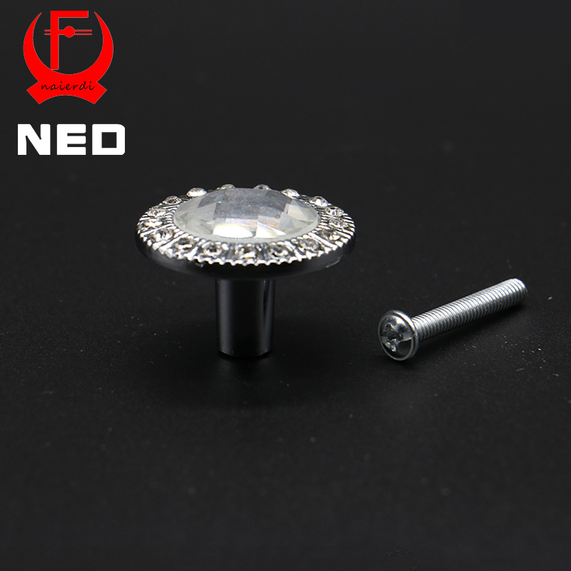 NED 30mm Diamond Design Clear Crystal Glass Knobs Cupboard Drawer Pull Kitchen Cabinet Wardrobe Handles Furniture Hardware 10 pcs 30mm diamond shape crystal glass drawer cabinet knobs and pull handles kitchen door wardrobe hardware accessories