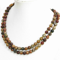 Special multicolor Picasso stone natural round beads 8,10,12mm vintage necklace chain high grade jewelry 36inch B1490