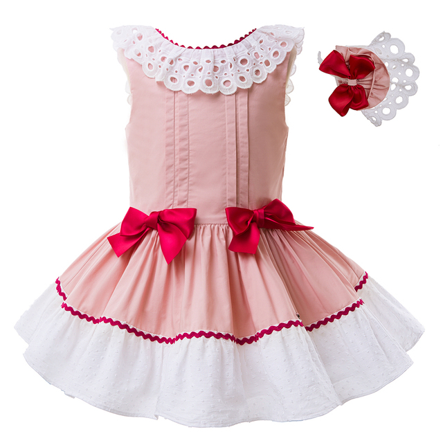 Pettigirl Pre~sale Summer Pink Girl Dress Sleevesless Pageant Dresses  Children Costume Kids Clothing With Double Red Bows B181 48d812aa34a3