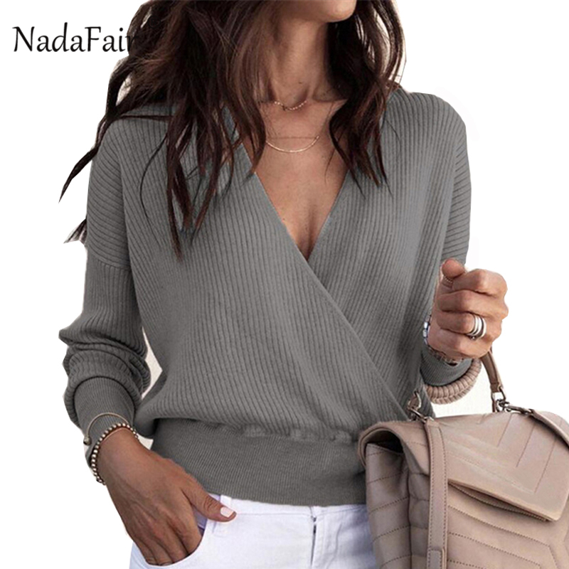 5c05f13fd2 Nadafair Deep V Long Sleeve Sweater Women Autumn Winter Pullover Sweaters  Slim Criss-Cross Sexy