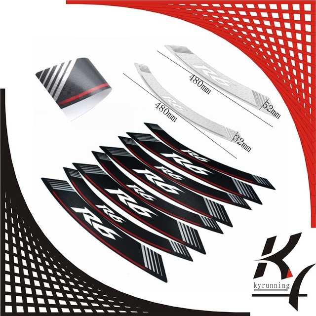 High quality motorcycle rim strips r6 logo stickers wheel decals kyrunning for yamaha yzf
