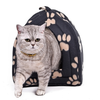 Wholesale Price Cat House and Pet Beds 5 Colors Beige and Red Purple, Khaki, Black with Paw Stripe, White with Paw Stripe 1