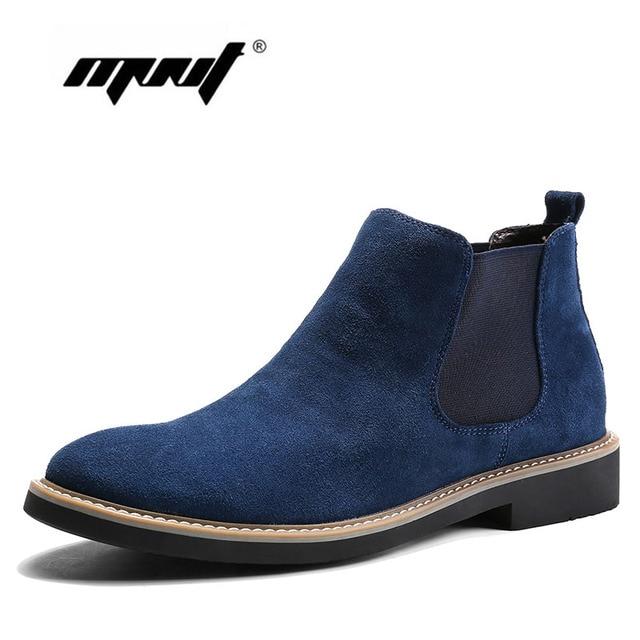 Echtes Wildleder Leder Schuhe Männer Kurze Knöchel Stiefel für mann, slip-on Chelsea stiefel Qualität Slip Ons Motorrad Männer Stiefel