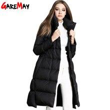 Women's Winter Down Coats & Parkas 2016 Korean Hooded Warm Ladies PU Stitching Loose Long Down Parka Jacket For Women YH355