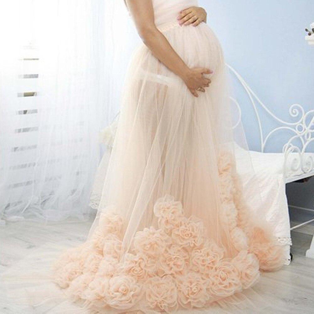 Champagne 3D Fleur Tulle Jupes Pour Jolie Enceintes Illusion Élastique Ceinture Plus La Taille Longue Tulle Jupes Femmes De Maternité