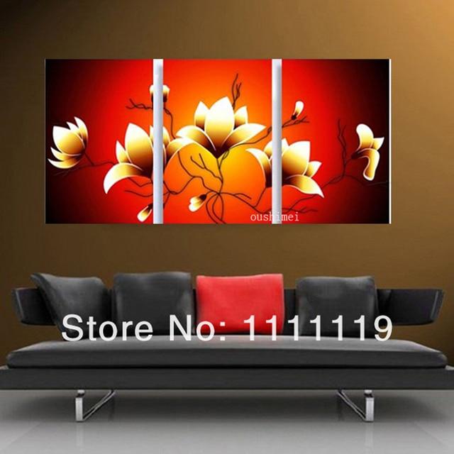 Tangan Dicat Minyak Lukisan Bunga Kelompok Gambar Untuk Ruang Tamu Yang Modern Dinding Abstrak