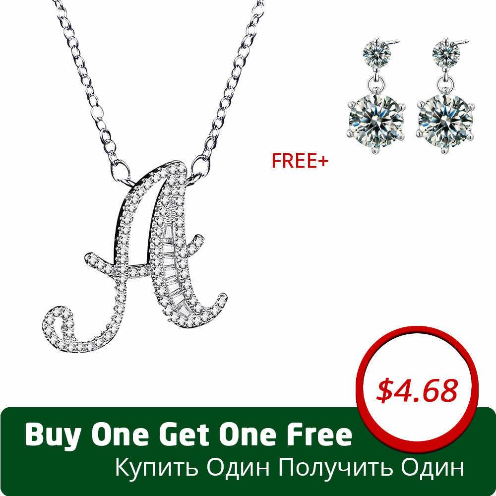 Uloveido Necklaces   Pendants Letter A B C D E F G H I J K L M N O P Q I S  T U V W X Y Z Silver Color Zirconia Jewelry NL025 b5e872b020cd