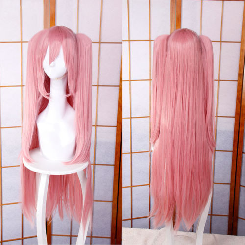 High Quality 100CM Krul Tepes Wigs Owari no Seraph Of The End Pink Clip Ponytails Cosplay Wig + Wig Cap + Black Hair Accessories