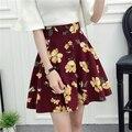 Primavera Verano de Las Mujeres Sobre La Rodilla Mini Faldas Florales de La Muchacha Elástico de La Cintura Una Línea de Faldas 7007