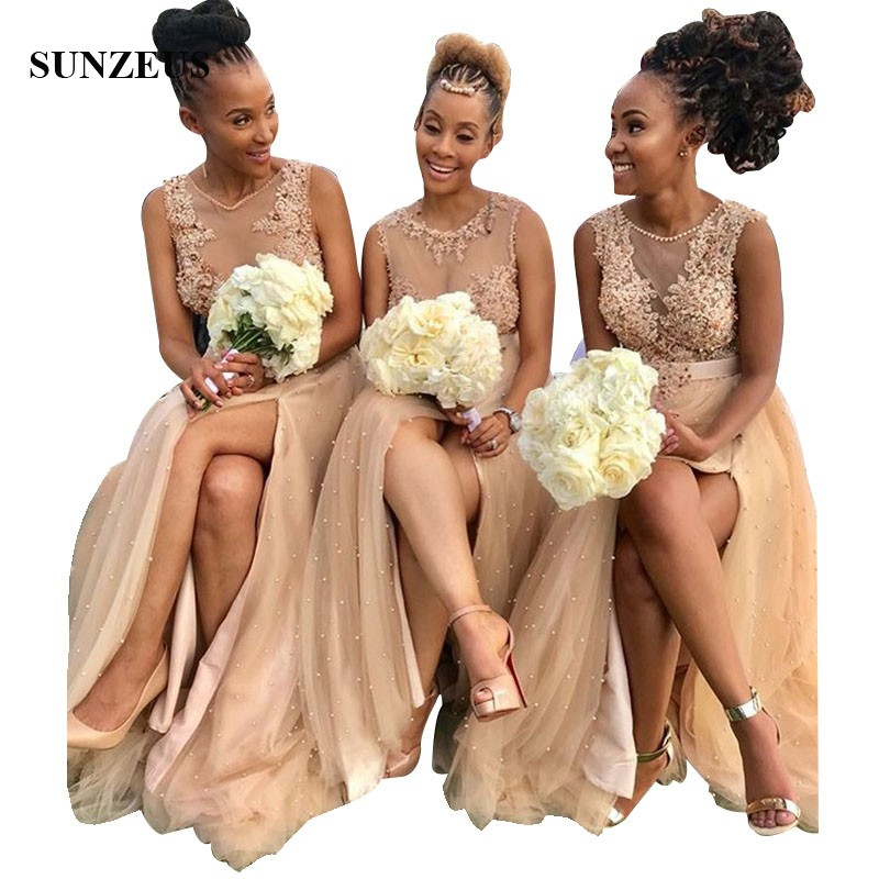 60 African Bridesmaid Dresses Champagne Tulle Illusion Bodice Inspiration Floral Pattern Bridesmaid Dresses