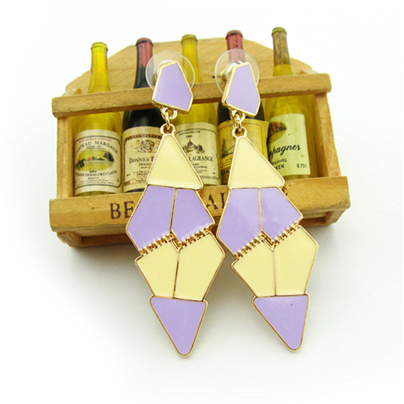 Women Special store candy color Colorful enamel Geometric pendant hanging Earrings brincos female earing
