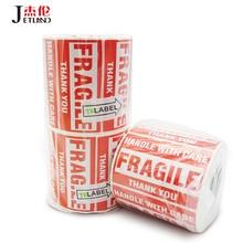 """Jetland avertissement expédition étiquette Fragile avertissement autocollants 3x2 """"ou 3x5"""", 100x100 90x50mm joint soin Carton autocollants"""