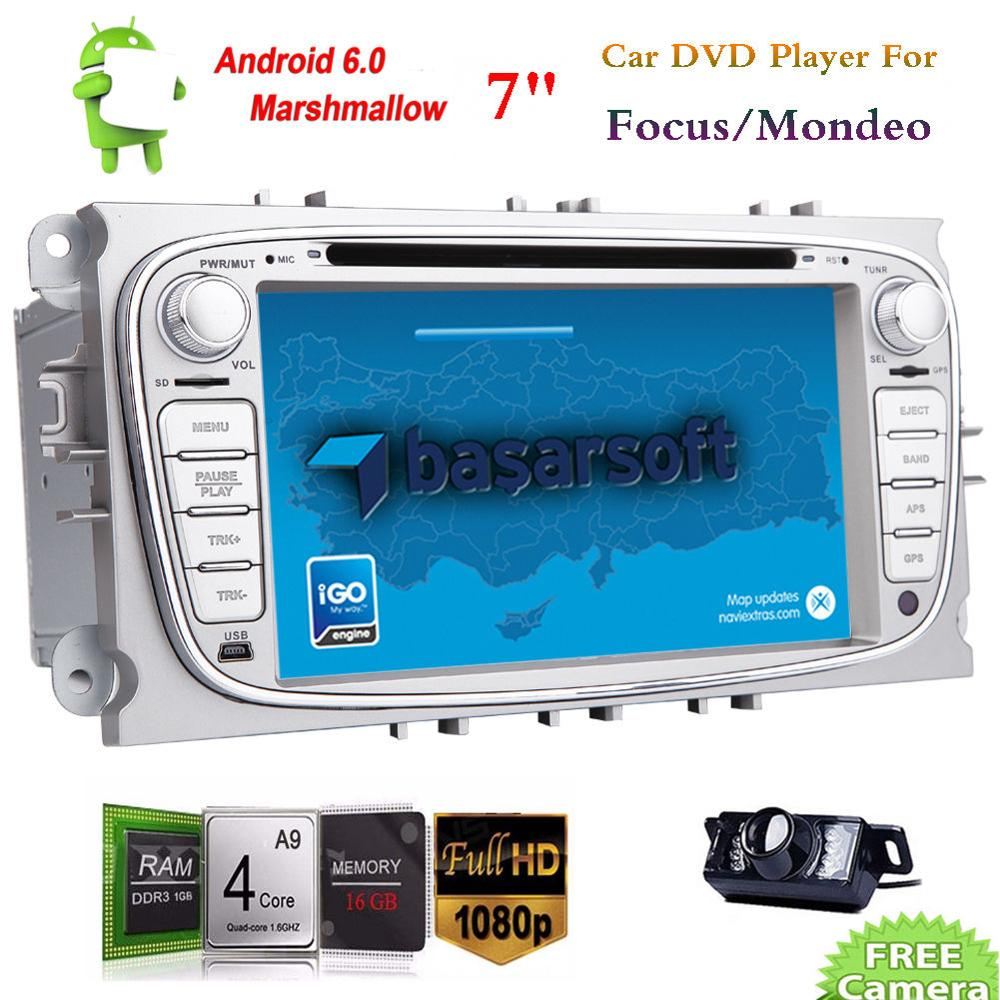 2Din Android 6.0 Car DVD Stereo Radio GPS WiFi for Ford Focus Mondeo Smax Galax in dash car radio stereo gps auto tadio headunit