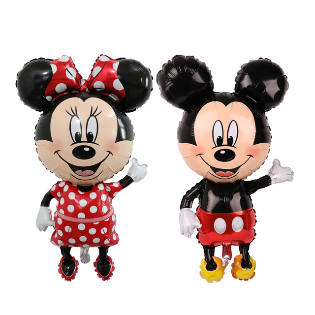 112cm Giant Mickey Minnie Mouse foil Balloon Cartoon Birthday Party decorations Kids Baby shower Party baloon Toys