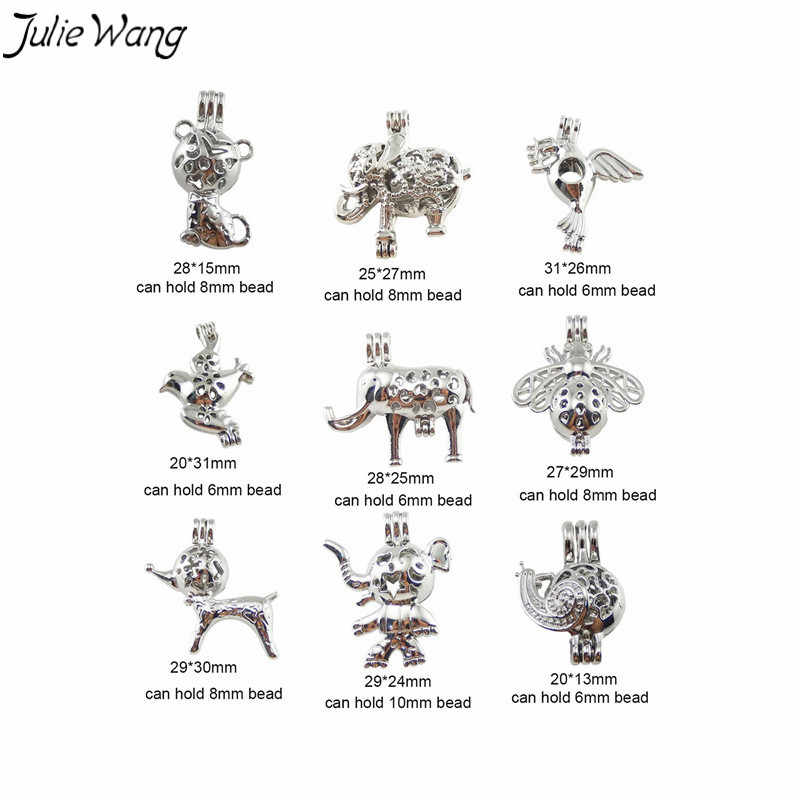 Julie Wang 9 ชิ้นลูกปัดมุกกรง Locket เงินเงาสัตว์น่ารัก Hollow จี้สำหรับ DIY น้ำมันหอมระเหย Diffuser สร้อยคอเครื่องประดับ