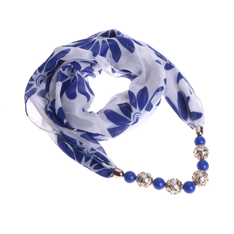 Women Necklace Scarf Chiffon Beads Pendant Floral Jewelry Ethnic Wraps Statement ...