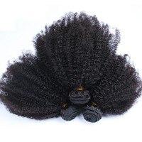 Афро кудрявый бразильский Девы волос 100% человеческих волос Weave Связки Natural Цвет Пряди человеческих волос для наращивания Бесплатная достав