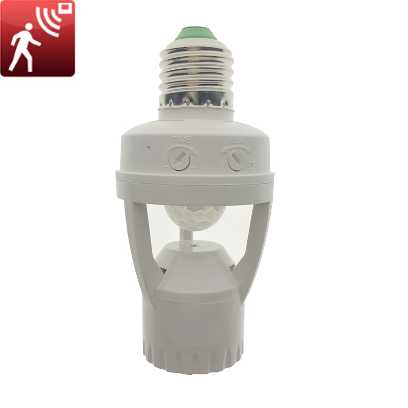 1Pcs AC110V 220V PIR Infrared Motion Sensor E27 Led Light Lamp Base Holder Bulb Socket 360 Degrees Detection Day & Night 2 Modes