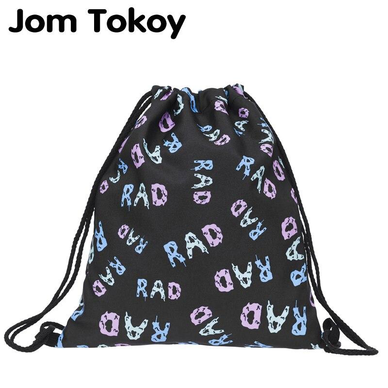 2019 New Fashion Women Rad Black Drawstring Backpack 3D Printing Travel Softback Women Mochila Drawstring Bags