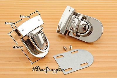 purse lock wallet Thumb latch tongue clasp silver 1 3/8 inch x 1 3/4 inch N35 ...