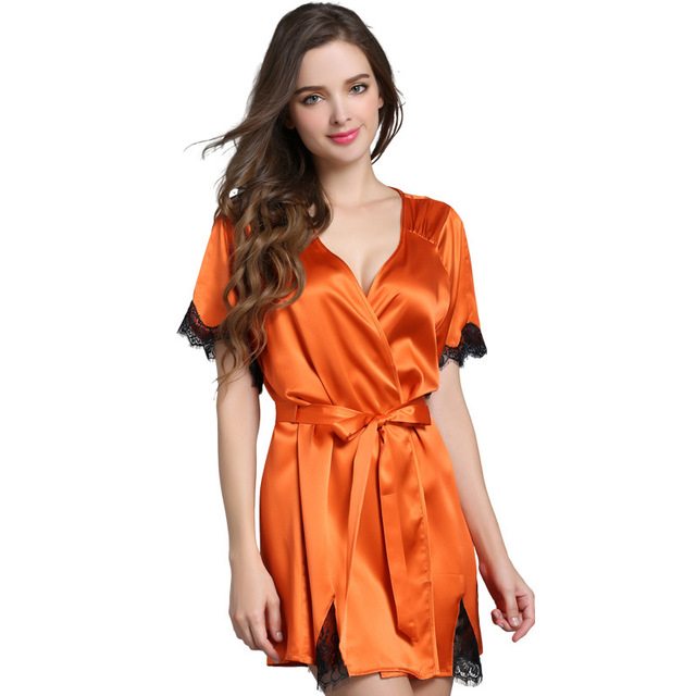 2019 Summer Women's Silk Bathrobe Sexy Lace Heavy Silk Sleepwear 100% Mulberry Silk Short Robes Pijama Casual Lounge S13086