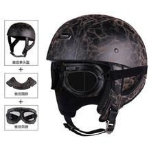 цена на Half Face Vintage Motorcycle Helmet Retro German Kask,Cafe Racer,Scooter,Cruiser,Chopper,Matte black,EPS lining,DOT approved