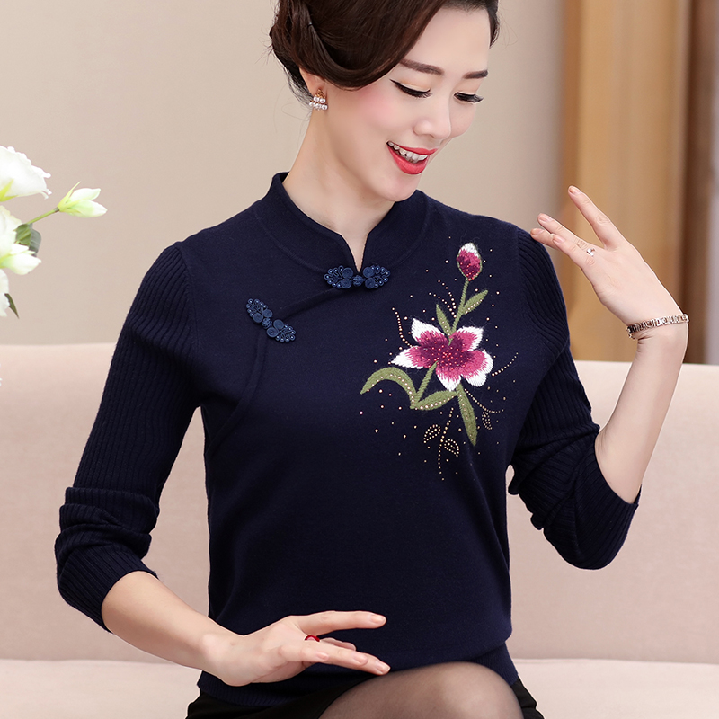 navy Shirt The aged Winter red Autumn 2018 Khaki Sweater And Women's Under Mother Loaded Middle Blue Women npq1xZF