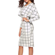 Fashion Women Flounce Flared Office Dress  Elegant Business Freedom Classical Plaid Party Gown Dress Sexy V-Neck Midi Dress