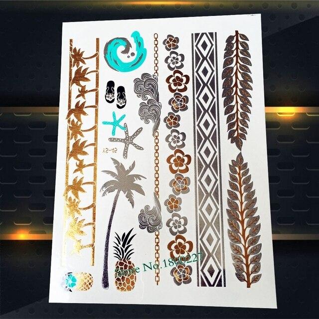 1pc Top Quality Women Henna Flower Tattoo Stickers Pys 45 Golden