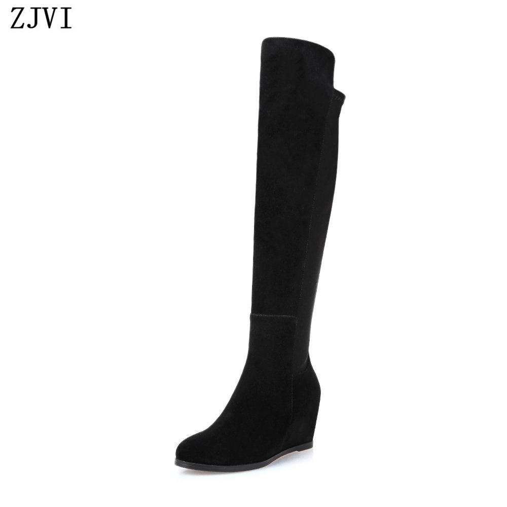 ФОТО ZJVI ladies fashion thigh high over the knee boots woman autumn winter womens female sexy nubuck suede leather women shoes