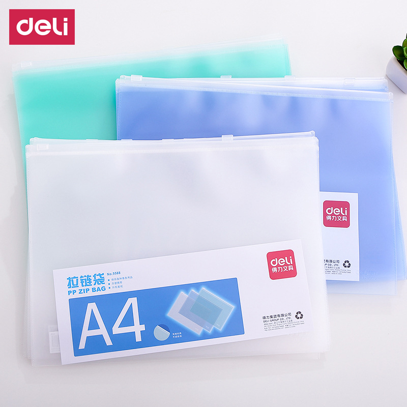 Deli 2 Pcs  A4 A5  Stationery Office & School Supplies Chancery PVC Folder Document Bags For Paper Documents