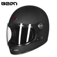 BEON полное лицо карбоновое волокно шлем для мотоспорта, мотокросса Мужчины Женщины полное покрытие внедорожные гоночные мото шлемы