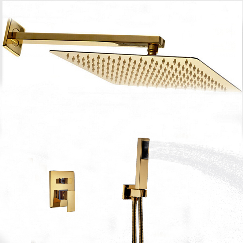 Wholesale And Retail Rainfall Shower Head Golden Sprayer 2 Ways Mixer Shower Faucet /W Hand Shower Wall Mount Shower Rose wholesale and retail wall mounted thermostatic valve mixer tap shower faucet 8 sprayer hand shower