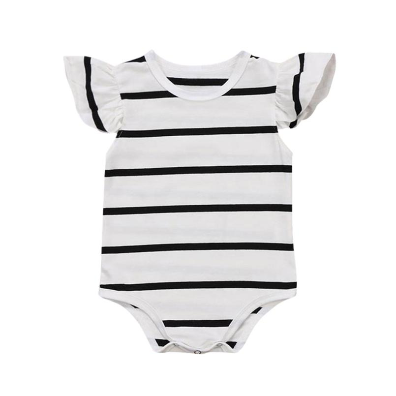 Girls Rompers Summer Black White Striped Cotton Clothing Ruffled Sleeve Onepiece for Sweet Casual 6M-24M Kids 18Apr4