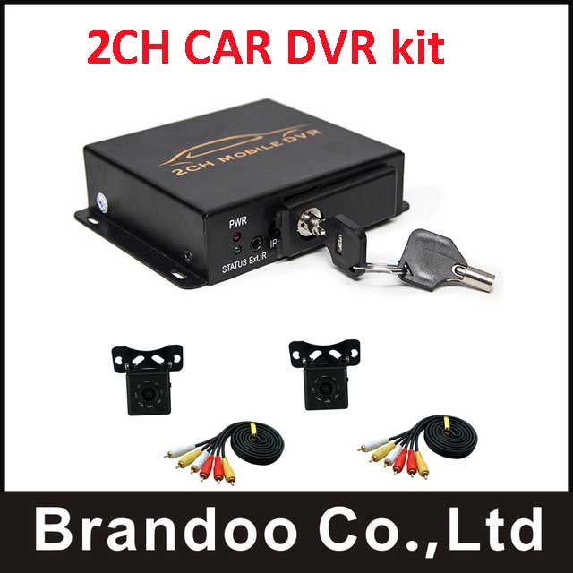 Best price for 2ch mobile DVR IR night vison vehicle car DVR kit+2pcs night vision car camera